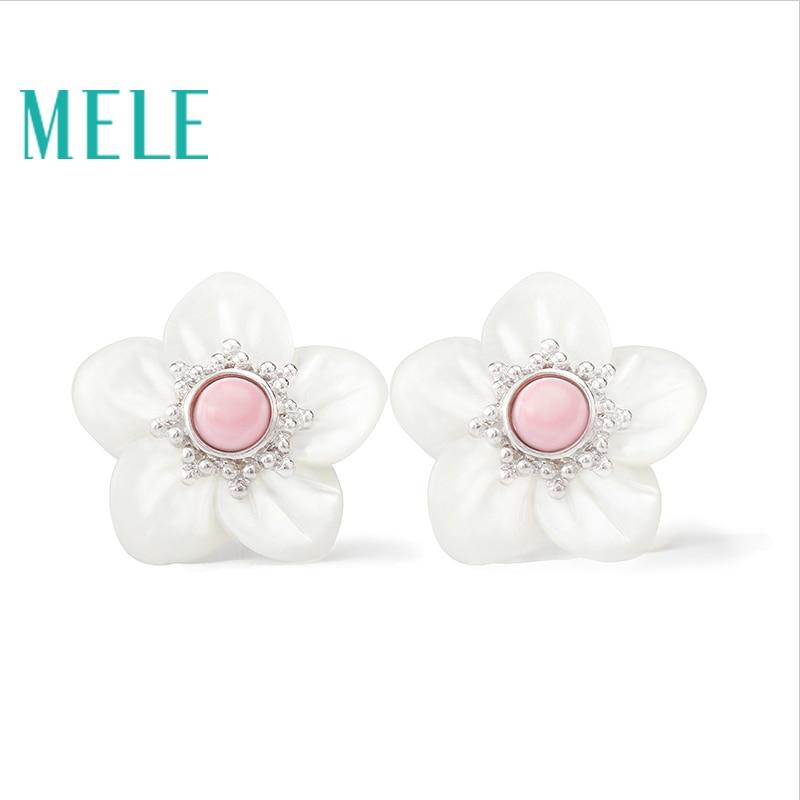 Boucles d'oreilles en argent 925 véritable coquille naturelle pour les femmes, mode fleur à la mode et populaire, pierre semi-précieuse