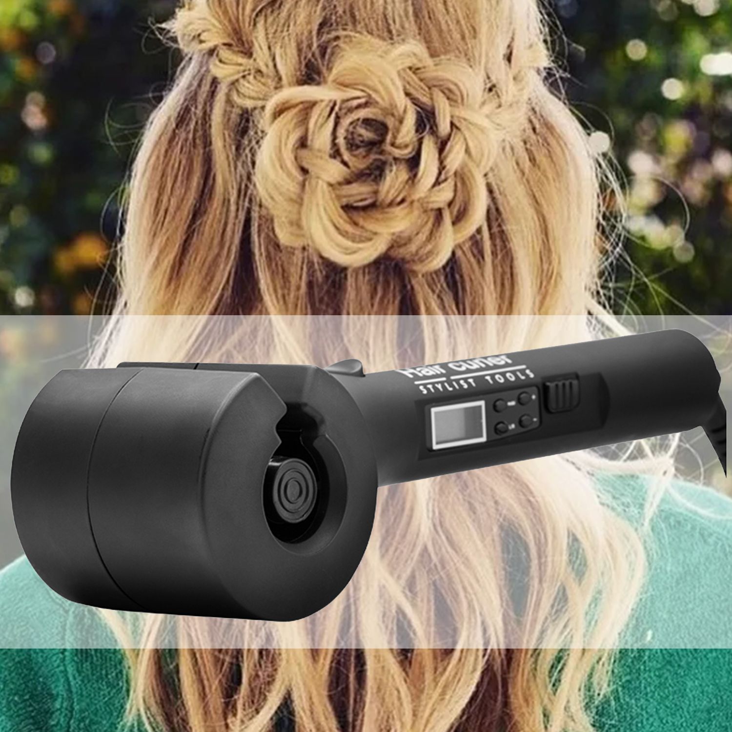 LCD Screen Automatic Hair Curling Iron With Steam Spray Ceramic Wave Wand Easy Curl Out Tool EU Plug clrlife automatic steam spray hair curler ceramic wave hair care styling tools magic curling iron hair curl styler stick eu plug