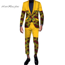 2pcs Set Blazer and Pants Embroidery Mens African Clothing Ankara Bazin Riche African Wax Print Top Suits and Pants Sets WYN606 colorful scales pattern blazer and pants twinset
