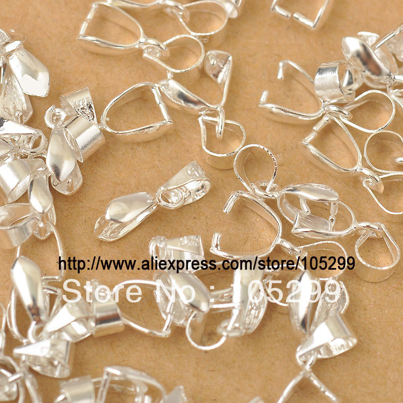JEXXI Free Shipping 50X Size-S 3.5X13.5MM 925 Sterling Silver Findings Bail Connector Bale Pinch Clasp 925 Silver Bail Pendant