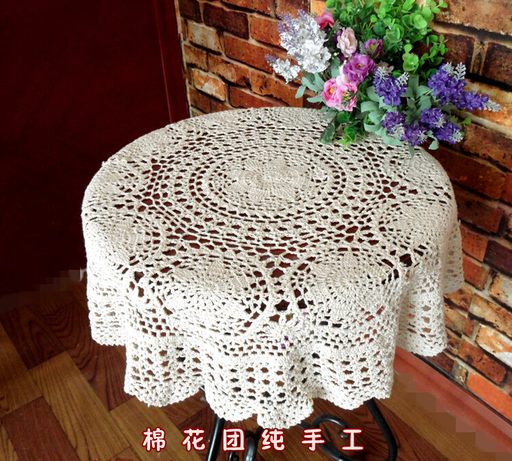 Hand Crochet Openwork Lace Tablecloths Drape Round Coffee Table Cloth  Furniture Cover Cloth Cotton Doilies Sofa