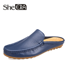 New 2019 Summer Slippers Men Genuine Leather Shoes Soft Casual Handmade Beach Male Brand Dropshipping