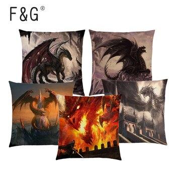 Dragon détruire puissant guerrier guerre feu ciel château ruines épée magique chevalier imprimé housse de coussin lin coton canapé taie doreiller