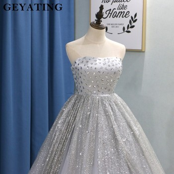 e635c33d67 Glitter Silver Grey Puffy Ball Gown Quinceanera Dresses 2019 Vestidos De 15