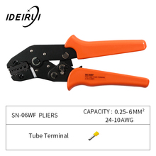 SN-06WF 0.25-6mm2 24-10AWG Crimping Pliers Wire Stripping Electric Tube Mini Brand Clamp Tools Plier kit crimping plier sn 48b sn 28bs sn 06wf sn 02c with 5 jaw for terminals d1b stripping wire cutters electric calmp hand tools
