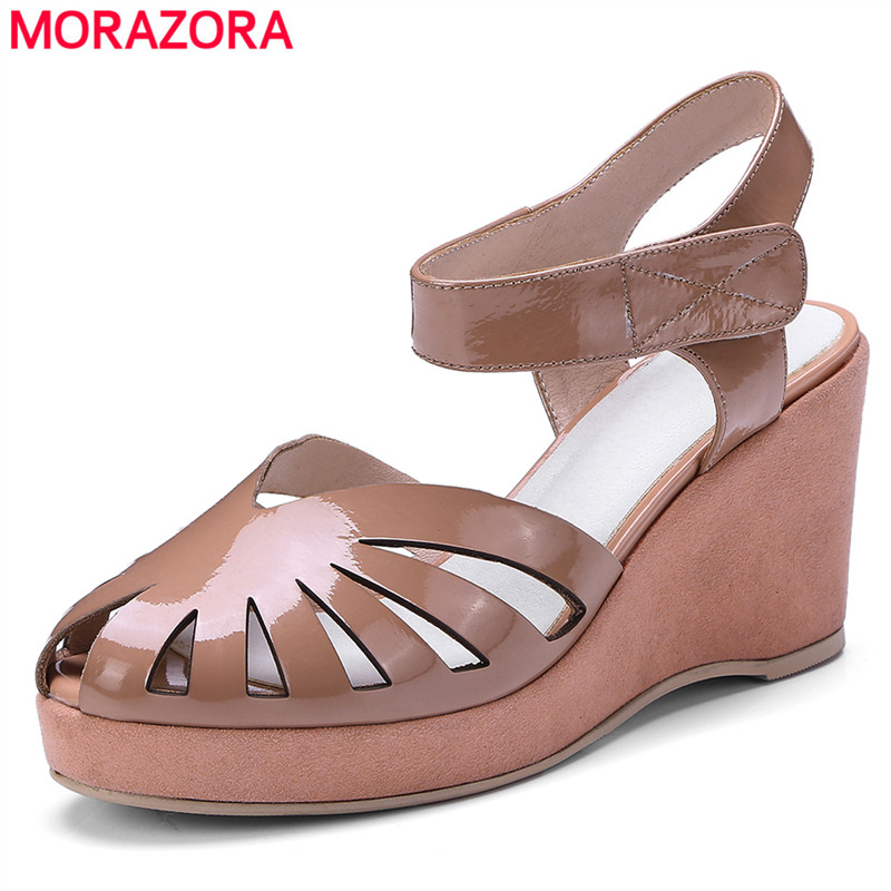 MORAZORA Plus size 34-44 New genuine leather women sandals wedges ladies high heel summer ladies casual shoes woman hzxinlive elegant summer sandals women high heel wedges shoes woman round toe roman sandals ladies footwear female casual shoes