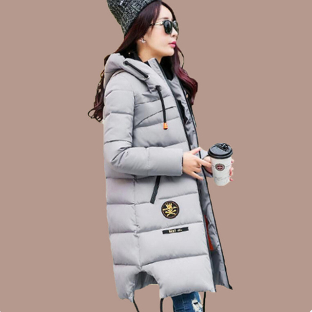 2017 Mulheres Espessamento Inverno Mulheres Parkas Amassado Moda Outerwear Jaqueta de Algodão-acolchoado Jaqueta Casaco de Médio-longo Exército Verde MZ944