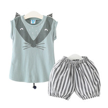 Girls Lovely Fox Printed Clothing Kids Summer Beauty 2017 Sport 2pcs/Set T-shirt And Striped Pants Baby Casual Clothes Sets