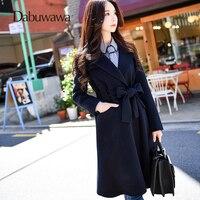 Dabuwawa темно синие Зимние теплые кашемировые Шерстяное пальто Для женщин Тонкий длинное пальто с поясом манто Femme