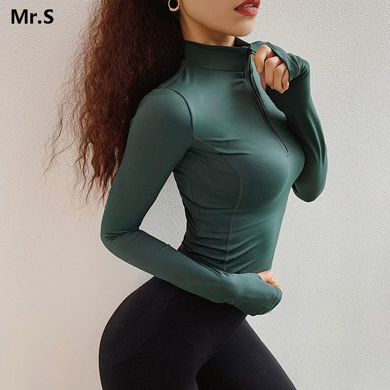 Topos para as Mulheres de Manga Workout Colheita Longa Camisas Yoga Treino t Camisa Correndo Jaqueta Pista Ginásio Esportes Moletom 1 – 2 Zip