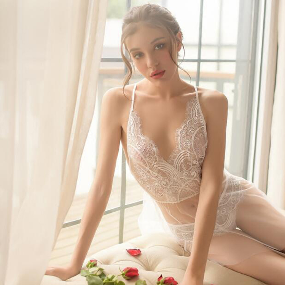 2019 New Sexy Lace Nightdress Women Underwear Lady Mini Nightdress V-Neck Style Two Pieces Sleepwear For Bath