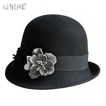3cb457054c03c Fashion Elegant Solid Women fedora hat Vintage Wool Felt Hat Asymmetric Hat  Brim Style Flowers British