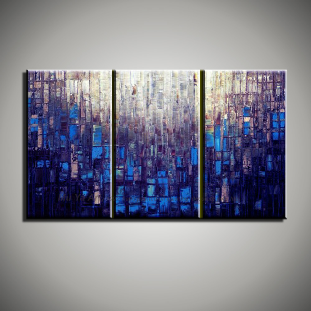 Hand painted Abstract modern 3 piece canvas wall art purple blue font b Knife b font