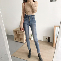 Sexy Vrouwen Skinny Denim Broek Enkellange Kwastje Dame Gewassen Jeans Hoge Taille Slanke Elastische Materiaal Mode Potlood Broek 2018