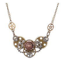 Newest Gothic Statement gear Necklace With Flower Steampunk Pendant Necklace Women Men Time Machine Jewelry