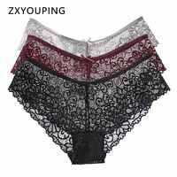 3 Pcs Sexy Lace Panties For Women Underwear Breath-able Female Panty Hollow Transparent Briefs Ladys Lingerie Plus Size S-XXL