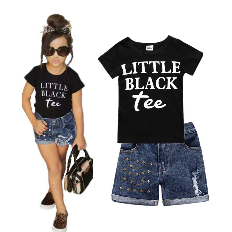 2pcs Kids Baby Girl Clothes 2017 Summer Letters Cotton T-shirt and Denim Shorts Hole Jeans Set Toddler Children Clothing Suit