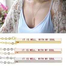 IT IS WELL, WITH MY SOUL Necklace Bible Quote Pendant Men Women Fashion Bar Religious Jewelry Christian Gifts