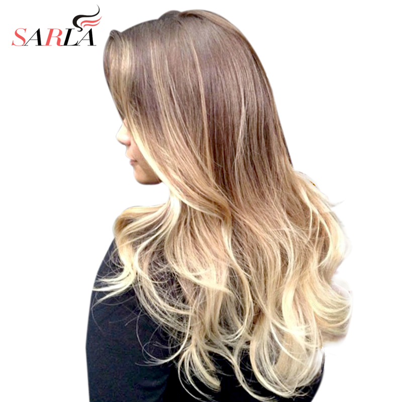 SARLA Ombre Brasilian Long Clip In Hair Extensions Deep Wave - Syntetiskt hår