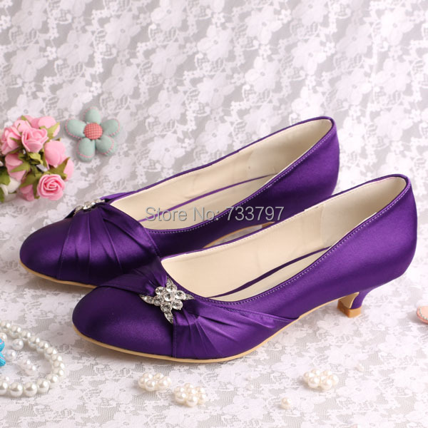 Wedopus Custom Handmade Round Toe Purple Wedding Shoes Bridal Low ...