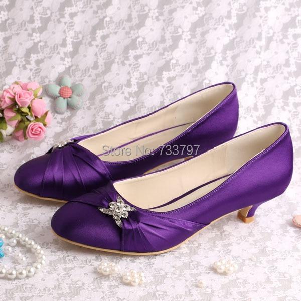 Genial Wedopus Custom Handmade Round Toe Purple Wedding Shoes Bridal Low Heel  Party Prom Pumps