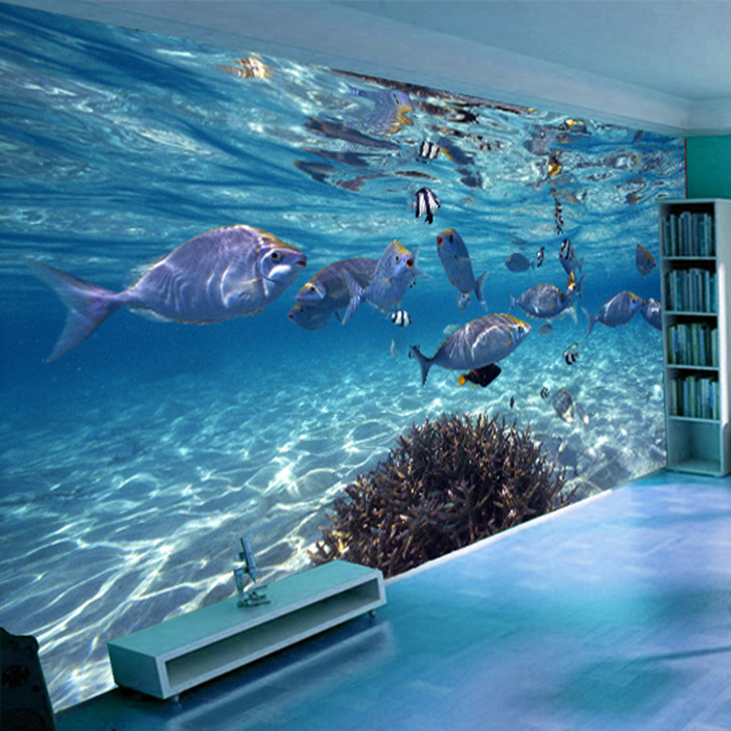 3D Underwater World Blue Ocean Fishes Photo Wallpaper Custom Stereo Cartoon Non-Woven Mural Kids Bedroom Living Room Wall Papers