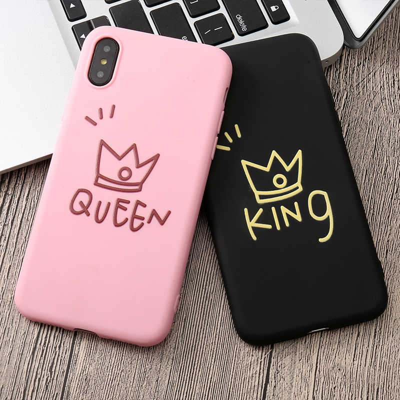 Capa protetora para iphone, capa tpu macia para iphone 5 5S se 6, queen e king, 6s 7 8 plus x xr xs max,