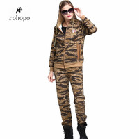 Autumn Professional Military female clothe,suit one full length trousers top tee and hooded camouflage soldier jacket cotton