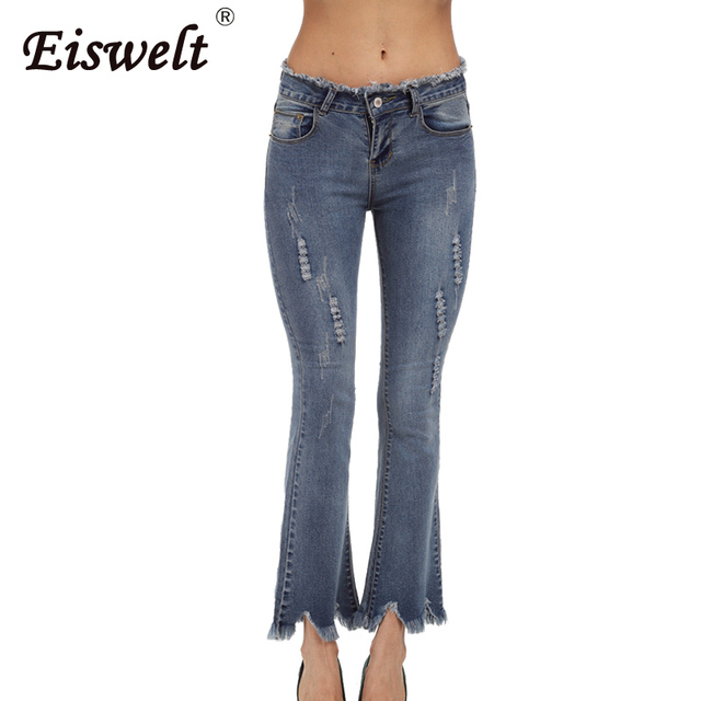 1d0a0218e81 Ripped Jeans for Women Suit Autumn Washed Bell Bottom Jeans Plus Size  Women s Pants Winter Jeans