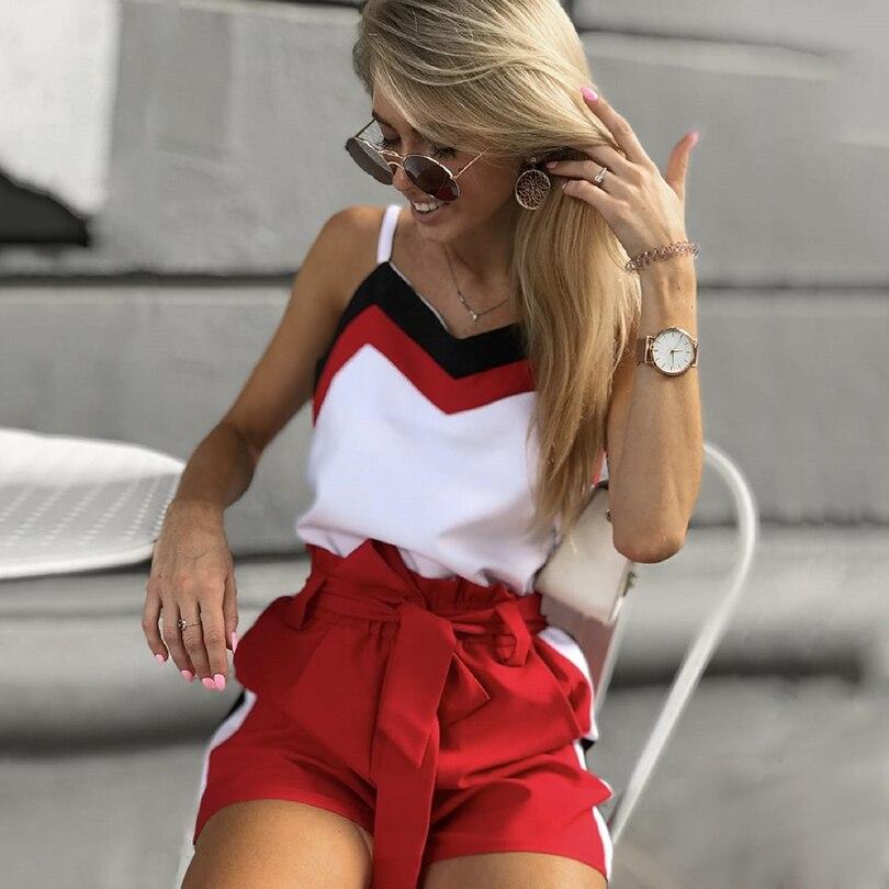 Taotree été Sling hauts Shorts costumes femmes sans manches T-shirt + côté rayure court pantalon 2 pièces ensemble femme