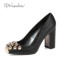 Pink Palms Women Shoes High Heels Pumps Fashion Metal Snout Square Toe With Gold Silver Pearl