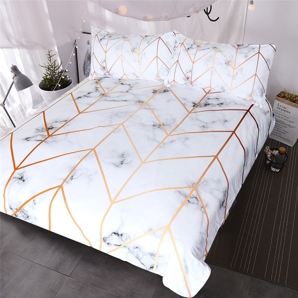 BlessLiving Marble Texture Bedding Set Black White Golden Duvet Cover Set 3 Piece Stylish Bed Cover