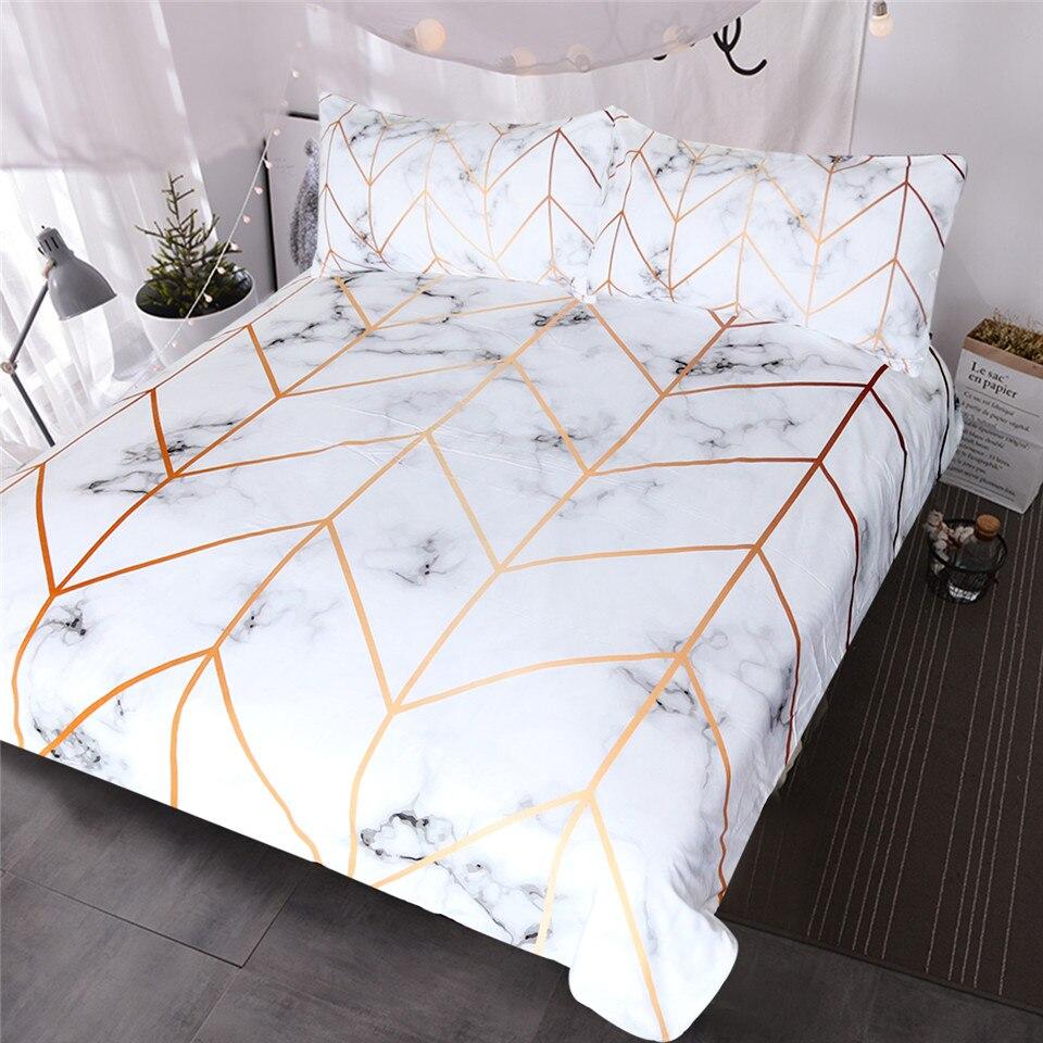 BlessLiving Marmor Textur Bettwäsche Set Schwarz Weiß Goldene Bettbezug-set 3-Piece Stilvolle Bett Abdeckung Natur Inspiriert Bettwäsche