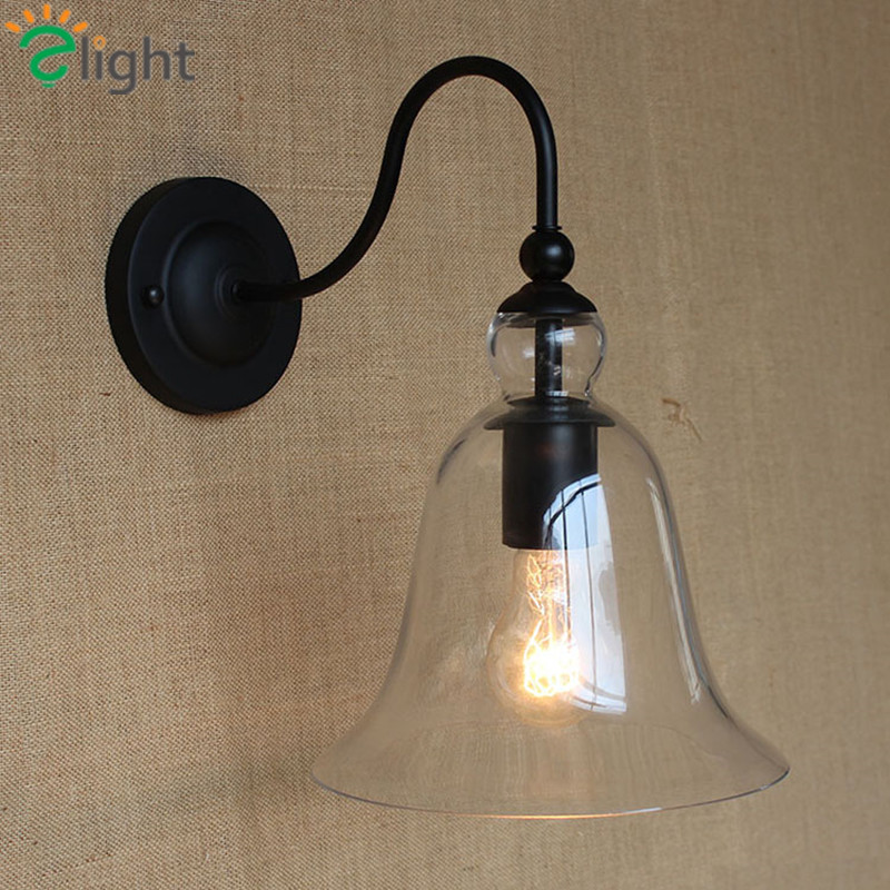 ФОТО Nordic Nostalgic Bell Bedroom E27 Wall Lamp American Pastoral Iron&Glass Corridor Led Wall Lamp Simple Loft Black Wall Lighting
