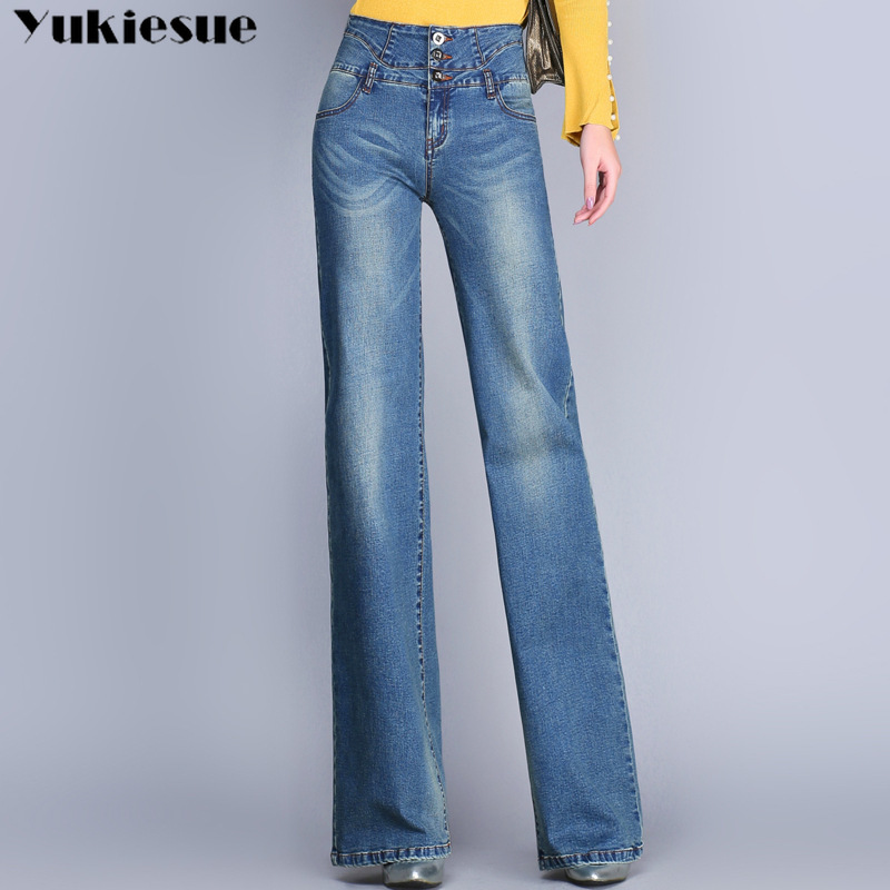Women Flared Jeans Woman High Waist Elegant Retro Style Bell Bottom  Denim Pants Female Sexy Casual Wide Leg Jeans For Womne