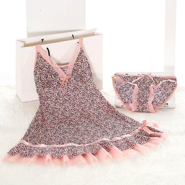 2016 New Sexy Womens Pink Chemise Nightie Women Nightwear Lingerie Nightdress Sleepwear Dress chemise de nuit
