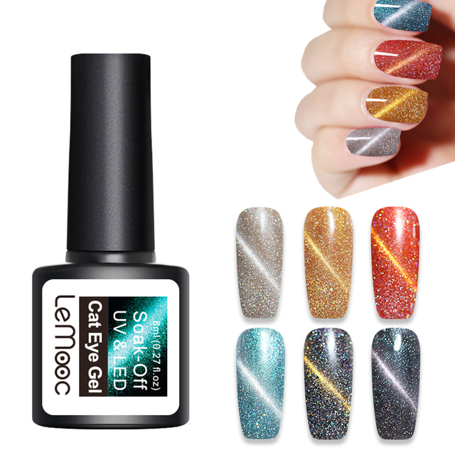 LEMOOC Holographic Cat Eye UV Gel Polish 3D Magnetic Laser Soak Off Nail Art Gel Varnish Manicure 8ml