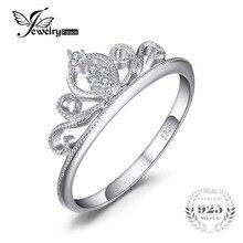 JewelryPalace Crown Round Cubic Zirconia Anniversary Promise Обручальное кольцо для женщин Реальные ювелирные изделия из стерлингового серебра 925
