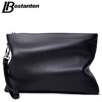 BOSTANTEN Brand Soft Cow Genuine Leather Men Clutch Bags Large Capacity Men Wallets Purse Long Strap