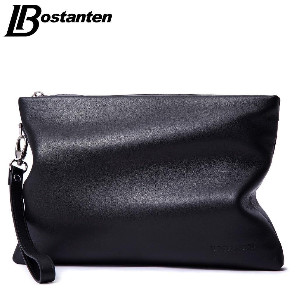 BOSTANTEN Brand Soft Cow Genuine Leather Men Clutch Bags Large Capacity Men Wallets Purse Long Strap Envelope Wristlet Carteras