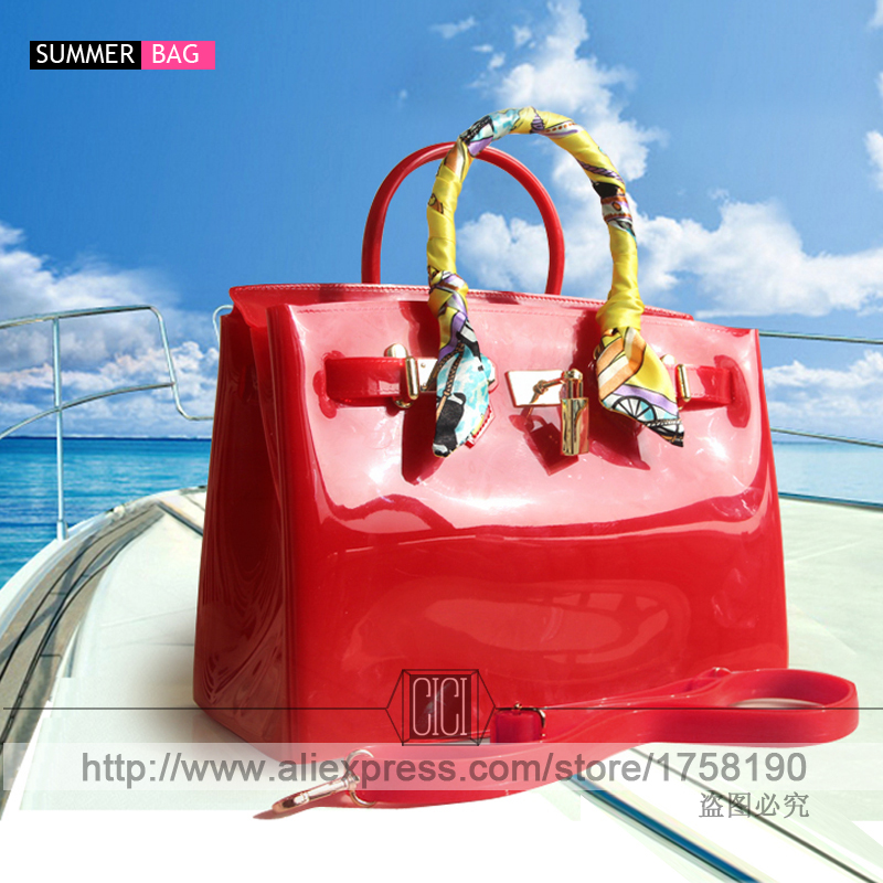 Hot Por Turquoise Bag Female Handbag Plastic Pvc Waterproof Rubber Bags Jelly Beach Candy