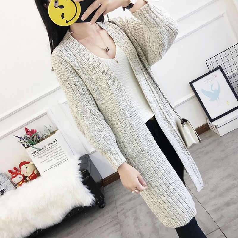 Женский вязаный кардиган, свитера, пальто, женский свитер, Длинная женская одежда, теплая куртка в Корейском стиле, Осень-зима 25