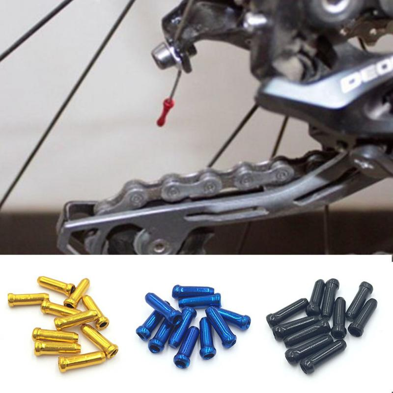 10pcs/lot MTB Mountain Road Bike Cycling Bicycle Derailleur Shift Cable End Caps Aluminum Brake Cable Tips Crimps Brake Wire Cap