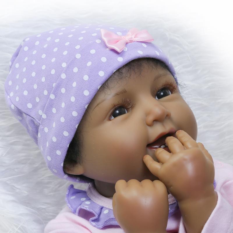 22 55cm Lifelike Reborn Black Girl Dolls Silicone Vinyl Handmade Sweater Baby Gift