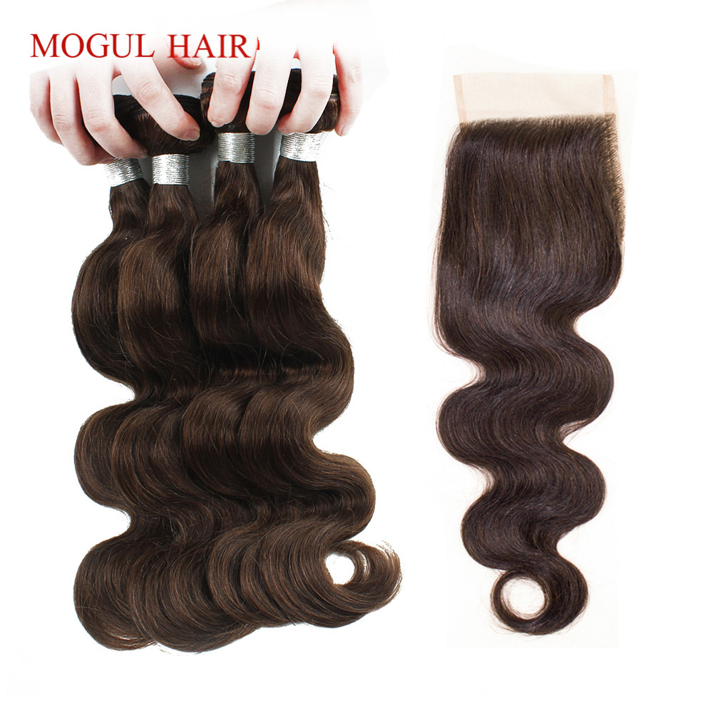3/4 Bundles with Closure Color 4 Dark Brown Body Wave Bundles with Lace Closure Peruvian Body Wave Remy Human Hair MOGUL HAIR