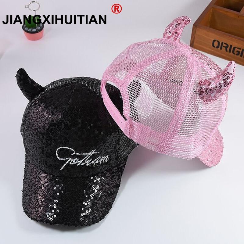 2018 Hot Sequins Ear Hats Kids Snapback   Baseball     Cap   With Ears Funny Hats Spring Summer Hip Hop Boy Hats   Caps   free shipping