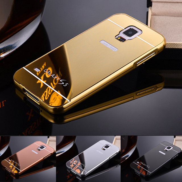 size 40 baf5c de1f1 US $6.38 |Mirror Aluminum Metal Case For Samsung Galaxy S5 i9600 Luxury  Metal Frame Ultra Slim Acrylic Back Cover For Samsung S5 Case capa-in ...