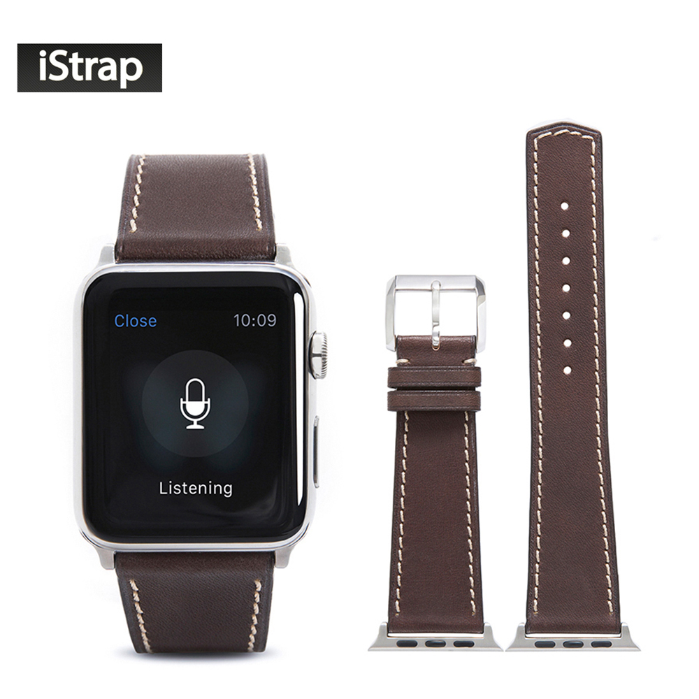 ФОТО iStrap 42mm Coffee Strap For Apple Watch France Calf leather Band with Silver Pin buckle and adapter fit 42mm Apple Watch Band