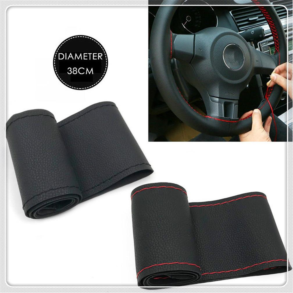 38CM Steering Wheel Covers Leather braid for Kia KND-4 Spectra5 Spectra Rio5 Multi-S Amanti Opirus Magentis Borrego VG Soul