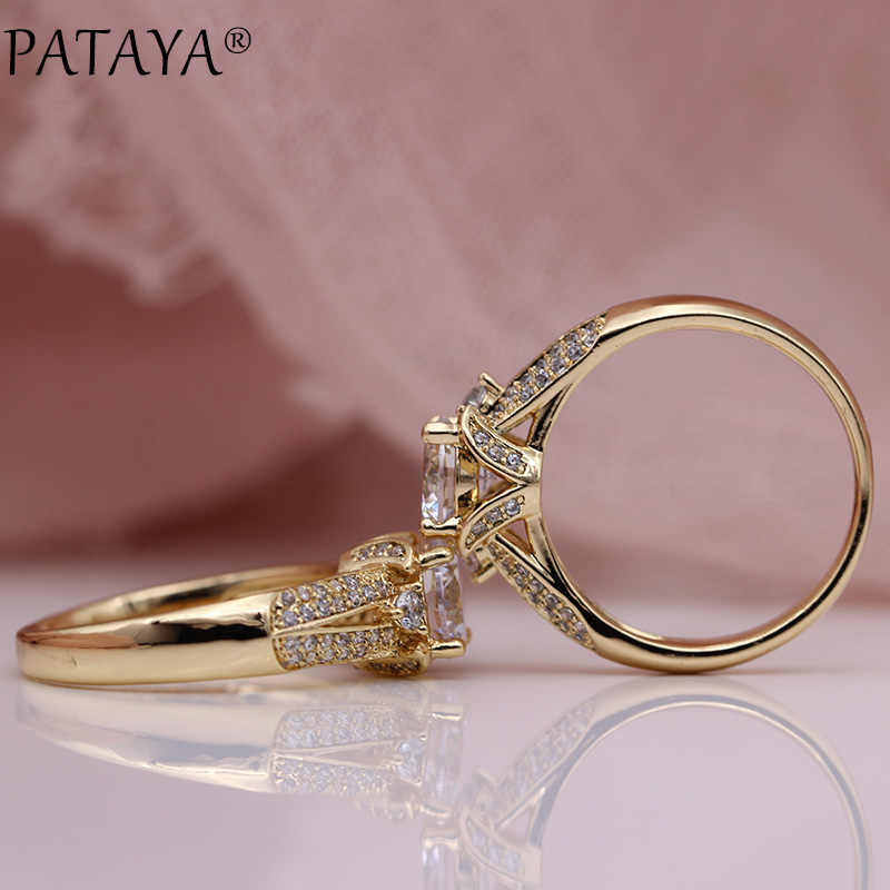 PATAYA New Women Luxury Wedding Rings 585 Rose Gold White Round Natural Zircon Fashion Jewelry Party Hollow Cute Fine Big Ring